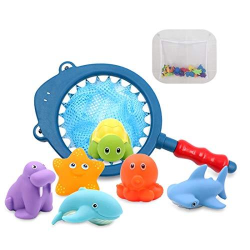Erlsig Badespielzeug, Angeln Spielzeug Squirt Wasser für Badewanne Schwimmbad, mit Fischernetz Aufbewahrungstasche