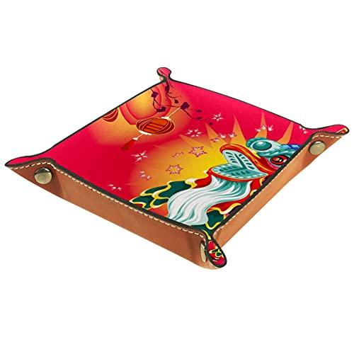 AITAI Valet Tablett aus veganem Leder, Nachttisch-Organizer, Schreibtisch-Aufbewahrung-Teller, Catchall, traditioneller chinesischer Löwen-Tanz-Festival