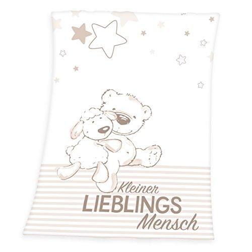 Herding Fynn Babydecke, Lieblingsmensch Motiv, 75 x 100 cm, Microfaserflausch, Weiß