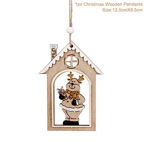 LJTJX Holzhaus Anhänger Christbaumschmuck Weihnachten Holz Handwerk Weihnachtsdekoration Neujahr