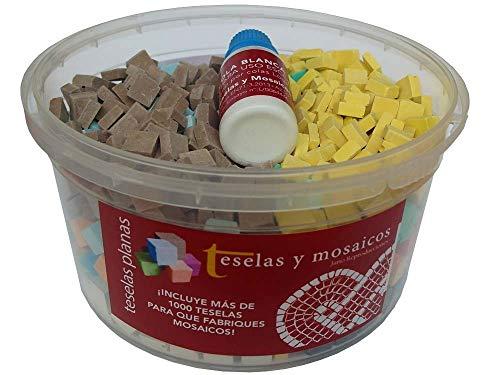 Surtido 1000 teselas de 10 colores para mosaico planas de 7,5x7,5x3 mm. + regalo cola blanca uso escolar