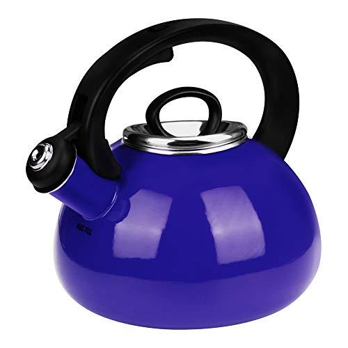 Whistling Tea Kettles, AIDEA 2.3 Quart Ceramic Tea Kettle for Stovetop, Enameled Interior Tea Pot for Anti-Rust, Audible Whistling Hot Water Kettle for Kitchen-Cobalt Blue