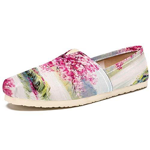 TIZORAX Slipper Schuhe für Damen, Kirschbaum auf See, Ölgemälde, bequem, leger, flach, Segeltuch, Größe 36, Mehrfarbig - mehrfarbig - Größe: 41.5 EU