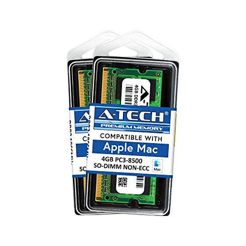 A-Tech for Apple 8GB Kit (2X 4GB) DDR3 1067MHz / 1066MHz PC3-8500 SODIMM MacBook, MacBook Pro, iMac, Mac Mini (Late 2008 Early/Mid/Late 2009 Mid 2010) Memory RAM