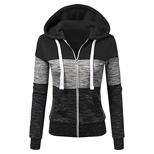 Zilosconcy Chaqueta Mujer Invierno Rebajas Costura Color Moda Sudadera Cremallera Mujer para Running Gym Fitness V-Cuello Otoño Oversize Jerseys Blusas Abrigo Tops