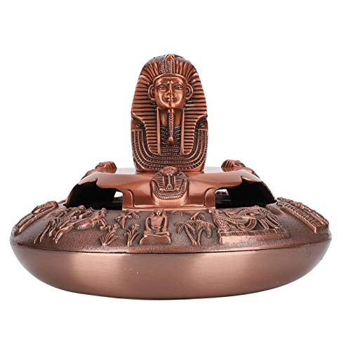 Faraón Escultura Cenicero Exquisito Cenicero Adornos a prueba de viento Hogar para oficina(Red copper)