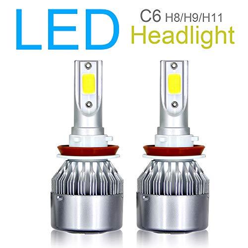 2 bombillas LED H8, H9, H11, kit de conversión de faros delanteros, chips COB avanzados, luces de cruce/luz de niebla, 10800 lm, 6000 K, 120 W, color blanco superbrillante