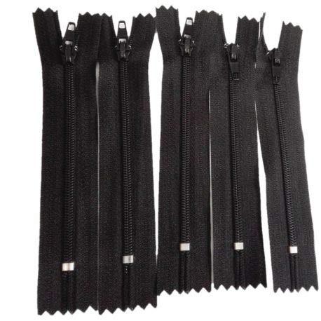 FILOUFACE 5 x Fermeture Eclair Fine Spirale Polyester Non séparable 10 cm Coloris Noir