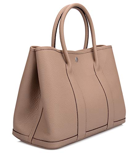 Gershimany Women's Genuine Leather Top Handle Handbags Totes Shopping Purse (Large (bottom length 14.2''), Taupe)