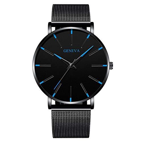 QWERTYU RIIANME 2020 minimalistische mannen mode ultra dunne eenvoudige mannen business horloges roestvrij staal gaas riem kwarts relogio masculino horloge