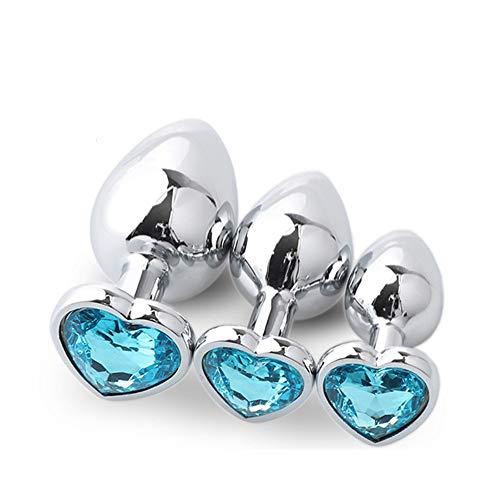 3 Unids / Set Joyas de Cristal Azul Claro Seguro de Metal Inoxidable Ànâl Juguetes Joya de Diamante Gema Bûtt Pluģ Articulo de Relajación Muscular, Corazón