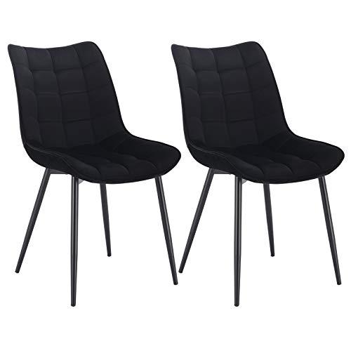 WOLTU® Esszimmerstühle BH142sz-2 2er Set Küchenstuhl Polsterstuhl Wohnzimmerstuhl Sessel mit Rückenlehne, Sitzfläche aus Samt, Metallbeine, Schwarz