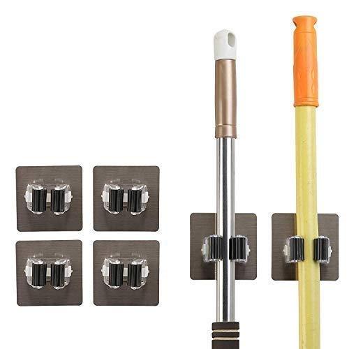 ADTALA Self Adhesive Mop Holder, Irich Wall Mount Storage Organizer Racks, No Drilling Tools Hook for Kitchen Bathroom Rakes Closet (4, Multicolour, 9 x 9 cm)