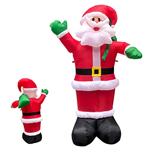 WeYingLe Santa Inflatable Decorations Outdoor Christmas Santa Claus Giant Decorations Blow Up Decor Funny Outdoor Air Blown Christmas for Xmas Home Garden Family Lawn (8FT)