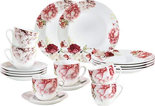 Erwin Müller Kaffeeservice 18-TLG, Serie Venezia Blumen - spülmaschinenfest, mikrowellengeeignet, Kaffeetasse, Untertasse, Dessertteller