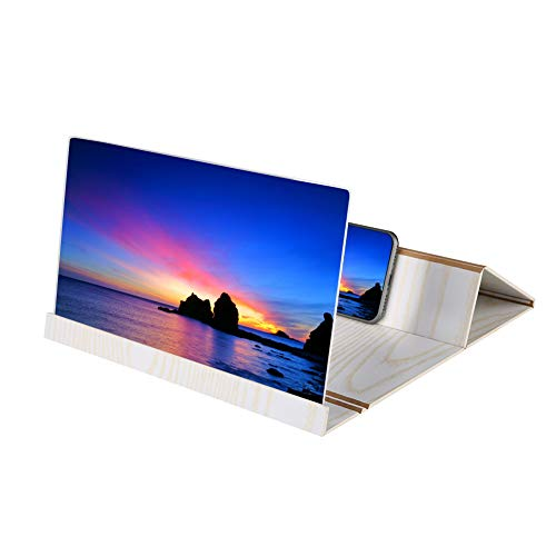 Screen Amplifier, Universal 12-in Lightweight Wooden Mobile Phone Screen Magnifier with a Built-in...