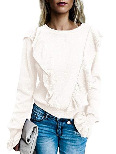 Imily Bela Women's Crew Rib Ruffle Front Puff Long Sleeve Blouse Sweater Crop T Shirts (Large, White)
