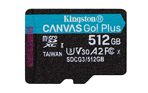 Kingston SDCG3/512GBSP microSD Speicherkarte ( 512GB microSDXC Canvas Go Plus 170R A2 U3 V30 Ohne SD Adapter)