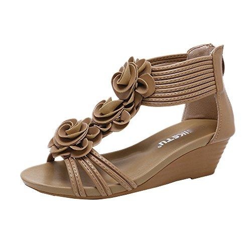 Sandales Bride Cheville Fille,LANSKIRT Chaussures d'Été à La Mod Sandales Compensées à Fleurs Sandales De Plage De Vacances