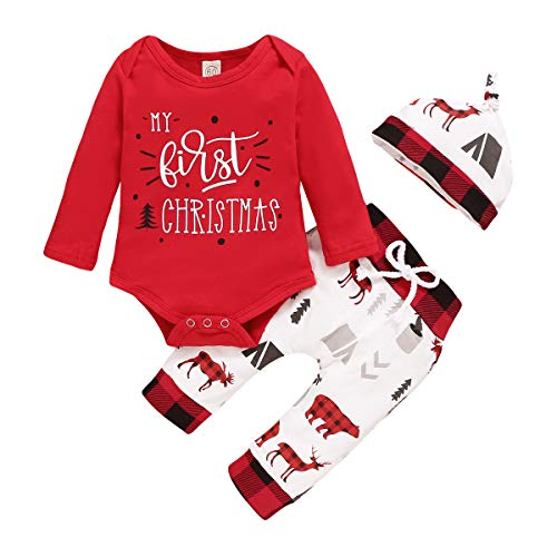 Newborn Baby Boy Girl My First Christmas Outfits Red Romper Bodysuit+ Print Pants+ Hat 3Pcs Infant Christmas Pajamas Set (Red White, 6-9 Months)