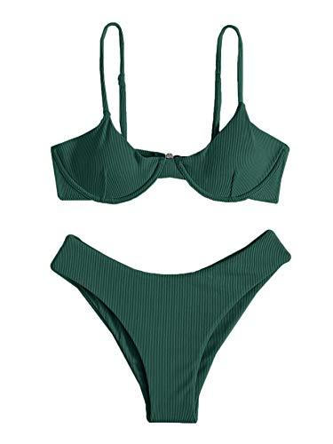 SheIn Women's 2 Piece Sleeveless Underwire Bra and Panty Bikini Set Swimsuit Green Large