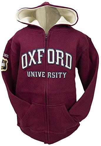Oxford University OU129 Sweat à capuche zippé enfant Bordeaux - Rouge - 7-8 ans