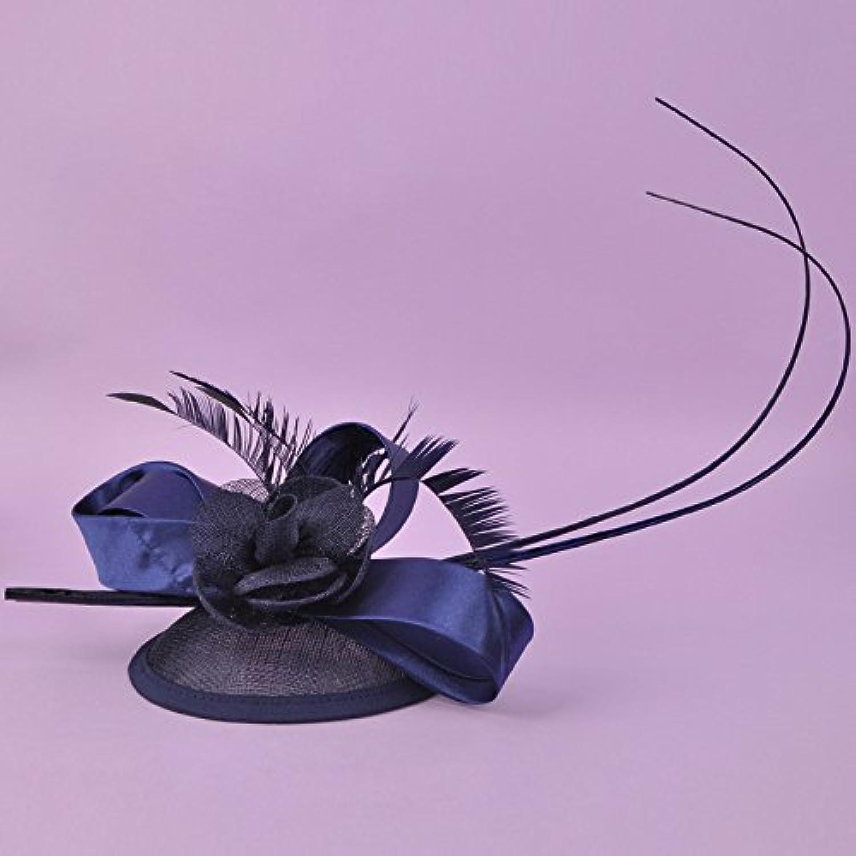 ZHANG33 PillboxHutHaarKlippCocktailHochzeitsHut Braut Kopfschmuck Kopfbedeckung B9, blueee