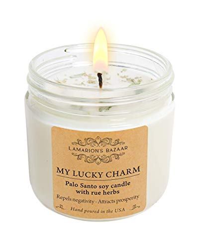 My Lucky Charm - Cleansing Palo Santo with Rue (Ruda) Herbs - Large Soy Candle for Healing and Good Luck in a Kraft Box