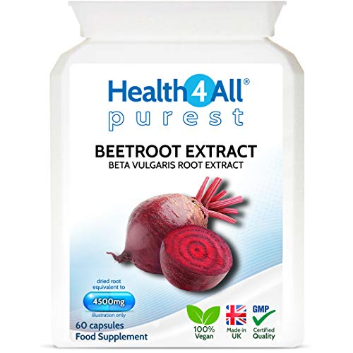 Beetroot Extract 4500mg 60 Capsules (V). Purest: no additives Vegan Supplement standardised to nitrates Contents. Made in The UK by Health4All