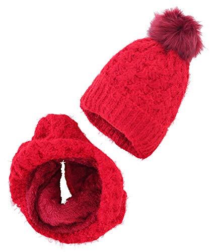 Novadis Set di berretto e sciarpa in pile, invernale, da donna e ragazza, cappello con pompon e collo circolare, in lana rossa