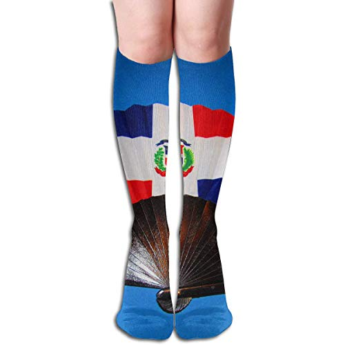 Ccsoixu Dominican Republic Flag Fan 50 Full Comfort Knee High Socks Cotton Long Knee High Socks