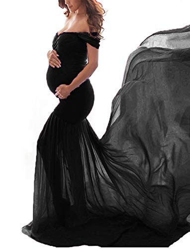 JustVH Maternity Off Shoulder Chiffon Gown Maxi Photography Dress for Photo Shoot Photo Props Dress