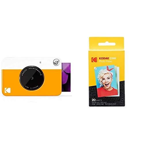 Kodak PrintomaticCámara de impresión instantánea, Imprime en Papel Zink 5 x 7.6 cm con Respaldo Adhesivo, Amarillo + Papel Fotográfico Zink Premium de 2X3 Pulgadas (20 Hojas)