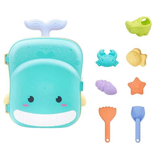 WINBST Maletín de juguetes de arena, para niños, niñas, juguetes de playa, animales con forma de arena, regadera, pala de arena, fuente de agua, trolley