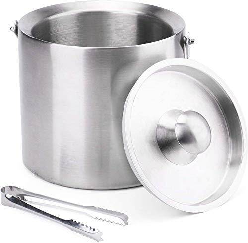 2L Ice Bucket | Insulated Double Walled Drink Cooler | Stainless Steel Party Drink Chiller | Includes Tongs & Lid
