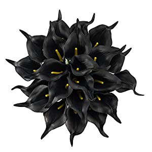 Crafjie 22pcs 13.4 Inch Black Lataex Real Touch Artificial Calla Lily Flowers, for Home Decor for Spring Flowers, Home Kitchen, Wedding Decorations, and centerpieces.
