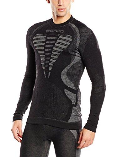 SPAIO Merino T-Shirt Manches Longues Hommes, Noir/Gris, XL