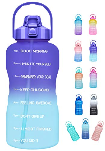 Venture Pal Large Half Gallon/64oz Motivational Water Bottle with Time Marker & Straw,Leakproof Tritan BPA Free Water Jug,Ensure You Drink Enough Water Daily for Fitness,Gym,Sports-Ombre Purple Green