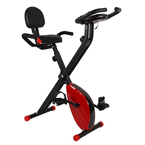 TAKE FANS Bicicleta estática, bicis magnéticas Plegables del Entrenamiento de la Aptitud de la exhibición del LCD de la Bicicleta estática con el cojín Trasero