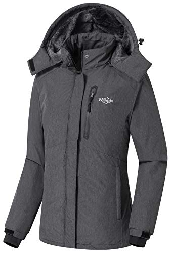 Wantdo Women's Mountain Ski Jacket Hooded Fleece Outdoor Winter Rain Coat Grey,M