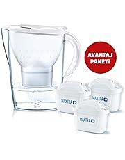 BRITA Marella XL Akıllı Sürahi, Beyaz - Musluk suyundaki kireç, klor gibi suyun tadını ve kokusunu bozan maddeleri azaltır, 3 MAXTRA+ filtreli BRITA başlangıç paketi
