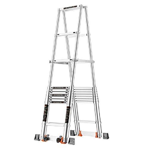 GUOXY Multifunktions-Multi-Use-Leiter Heavy Duty 3 Stufenleiter Folding Leichte Leitern Mit Stabilem Aluminium Und Anti-Rutsch-Weit Pedale Für Heim Küche Büro Trittschemel,11-Step