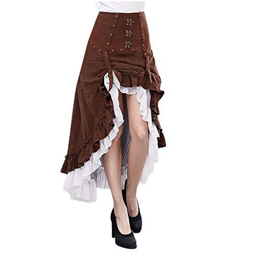 BENME Gear Duke Falda Larga con Volantes victorianos de la Moda Steampunk de la Novedad de Las Mujeres Falda de Cintura Alta Vintage para Mujer,Skirt-L