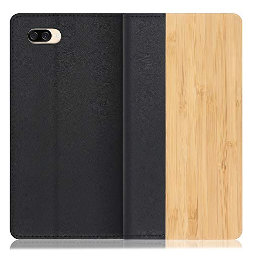 LOOF Nature ZenFone 4 Max / ZC520KL ケース 手帳型 カバー 本革 天然木 ベルト無し ウッド 木製 木 カード収納 カードポケット 本革 高級 スタンド機能 手帳型ケース スマホケース (竹)