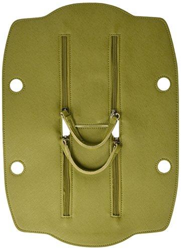 O bag Damen Chiusura Doppia Zip City Saff Handtasche, Grün (Verde), 10.5x10x40.5 cm (B x H x L)