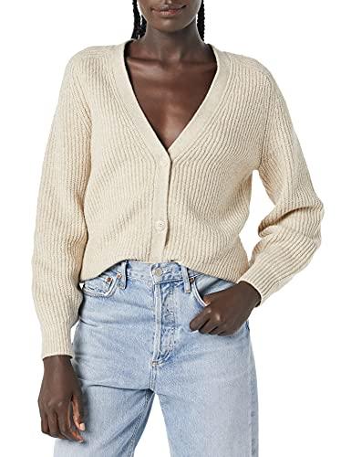 Amazon Essentials Women's Soft Touch Ribbed Blouson Cardigan, Warm Beige Heather, Medium