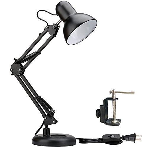 LED デスクライト スイングアームデスクランプ交換可能なベースまたはクランプテーブルランプの古典的な建築家クリップ調節可能なアーム 視力ケア 角度調整 丈夫、便利、耐久性が強い 読書/寝室/仕事/等に最適 (黒)