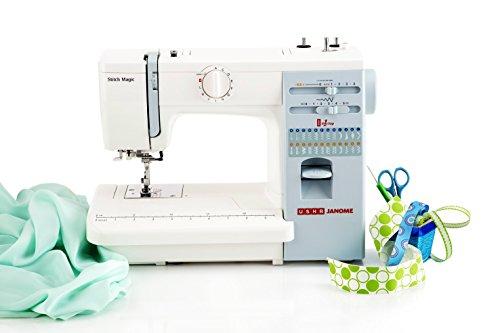 Usha Janome Automatic Stitch Magic 60-Watt Sewing Machine (White And Blue)