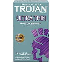 海外直送品 Trojan Trojan Ultra Thin For Ultra Sensitivity Lubricated Condoms, 12 each