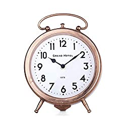 NIKKY HOME Vintage Shelf Clock, Silent Non-Ticking Analog Table Top Desk Clock Battery Operated for Living Room Decor, Rose Gold